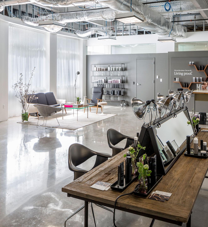 custom shear drapery at Living Proof hair salon in Boston