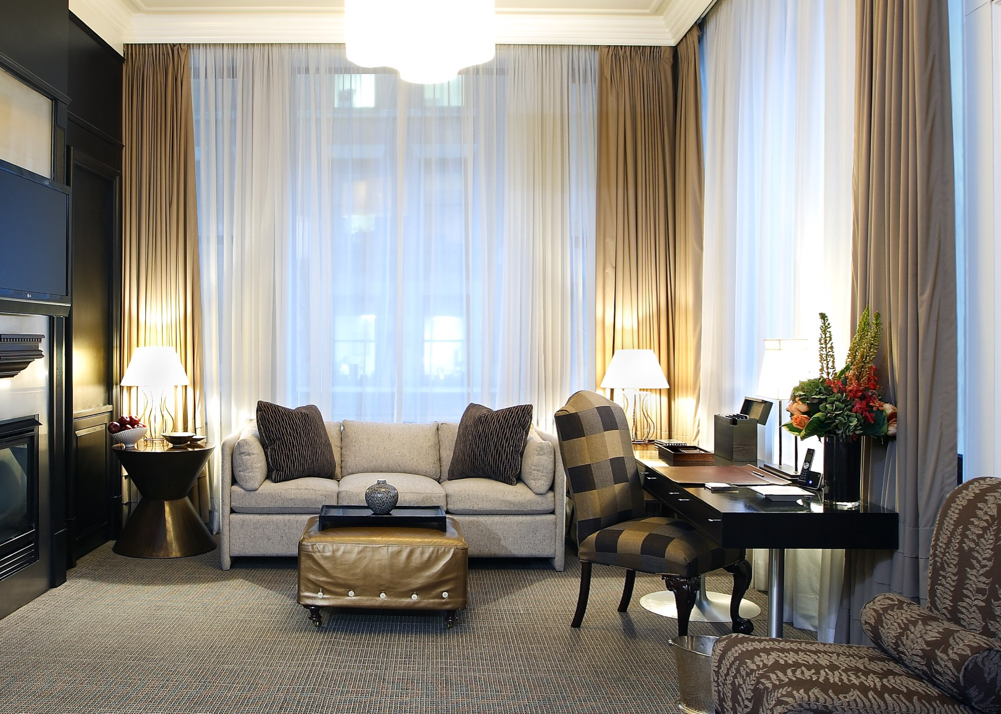 sheer custom drapery at 15 beacon hotel Boston